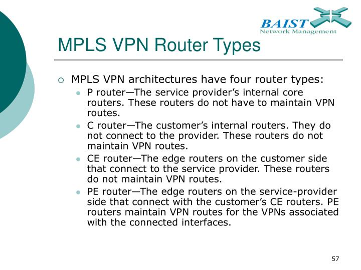 MPLS VPN Router Types