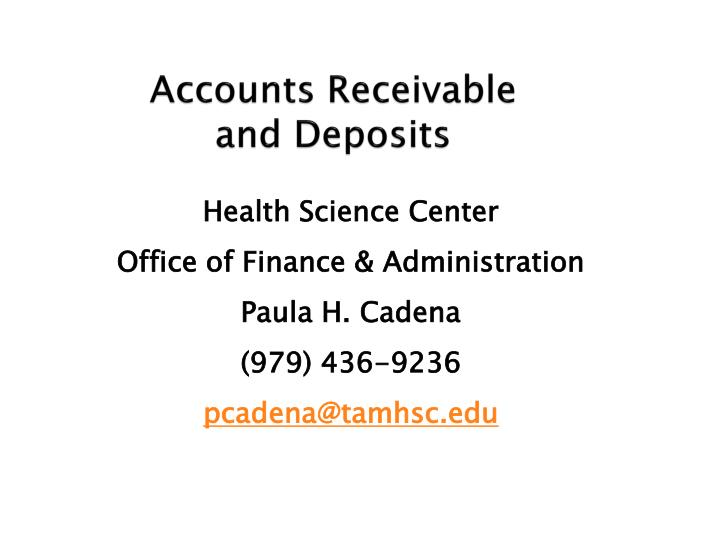 accounts receivable and deposits n.