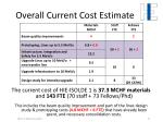 overall current cost estimate