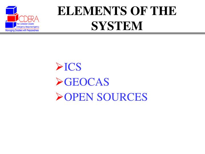 ELEMENTS OF THE SYSTEM