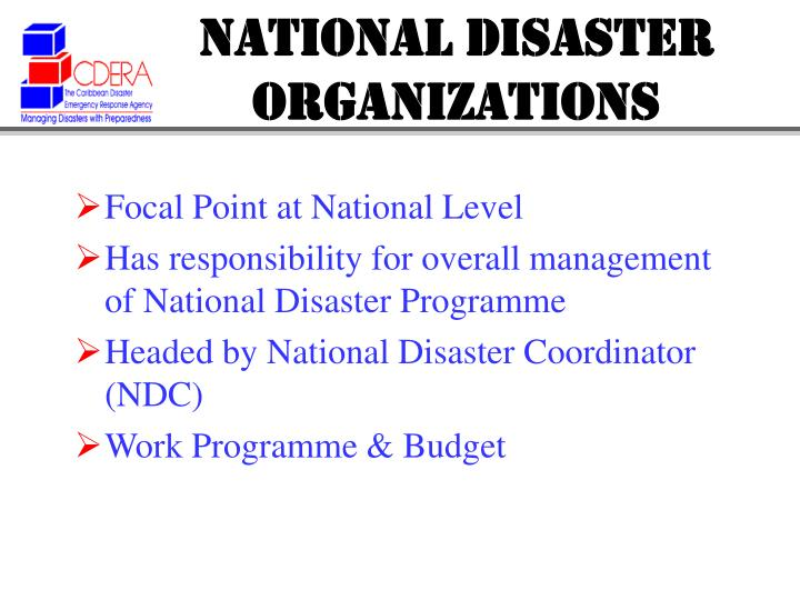National disaster organizations