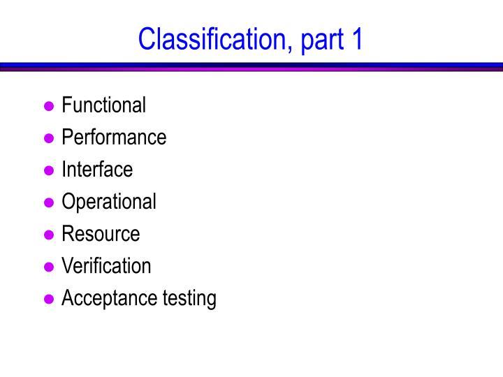 Classification, part 1