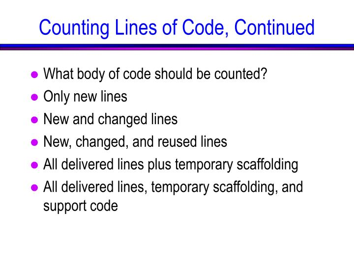 Counting Lines of Code, Continued