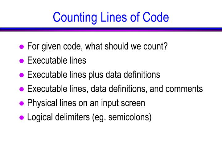 Counting Lines of Code