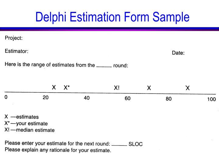 Delphi Estimation Form Sample