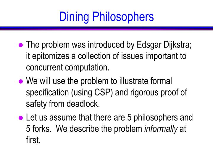 The problem was introduced by Edsgar Dijkstra; it epitomizes a collection of issues important to concurrent computation.
