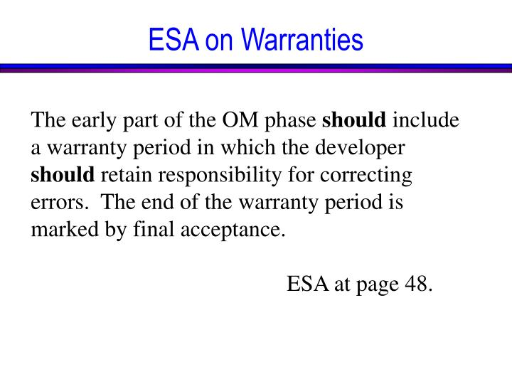 ESA on Warranties