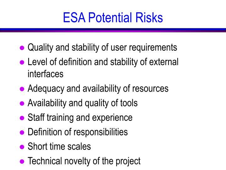 ESA Potential Risks