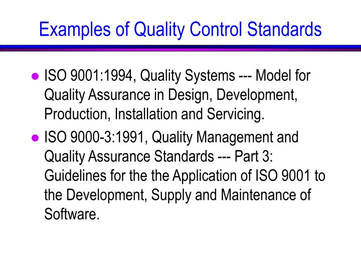 ISO 9001:1994, Quality Systems --- Model for Quality Assurance in Design, Development, Production, Installation and Servicing.