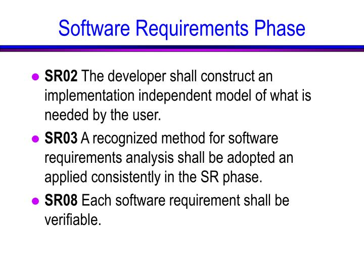 Software Requirements Phase