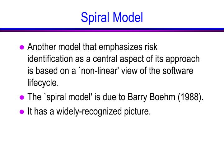 Another model that emphasizes risk identification as a central aspect of its approach is based on a `non-linear' view of the software lifecycle.