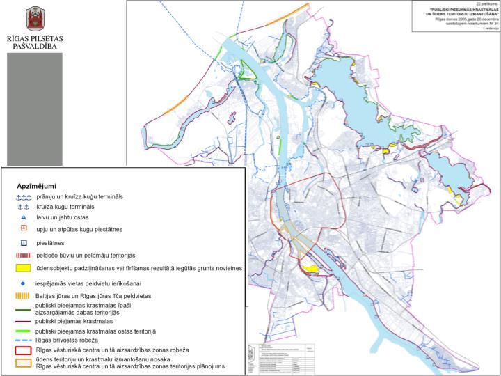 Ūdens teritoriju izmantošana peldošajām būvēm pārējā Rīgas teritorijā ir attēlota Rīgas TP (noteikumu) pielikuma kartē