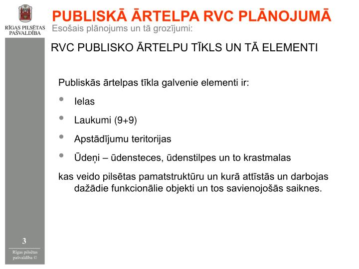 PUBLISKĀ ĀRTELPA RVC PLĀNOJUMĀ