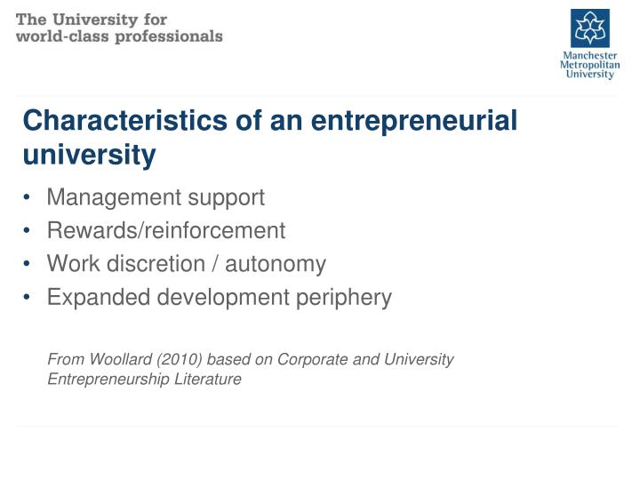 Characteristics of an entrepreneurial university