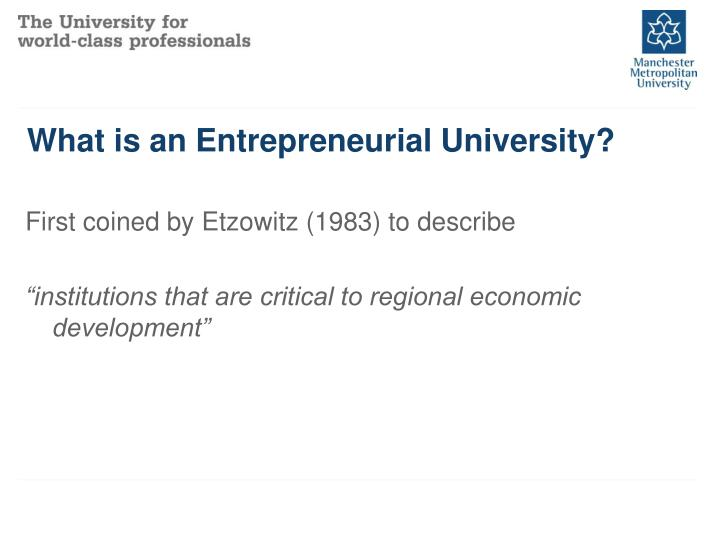 What is an entrepreneurial university