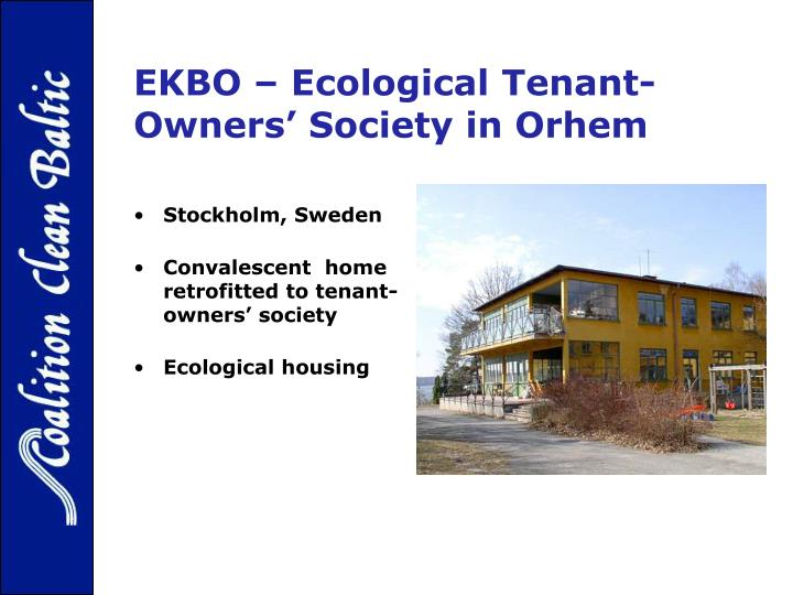 Ekbo ecological tenant owners society in orhem