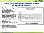an accelerated growth means a more competitive industry