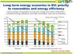 long term energy scenarios in eu priority to renewables and energy efficiency