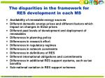 the disparities in the framework for res development in each ms