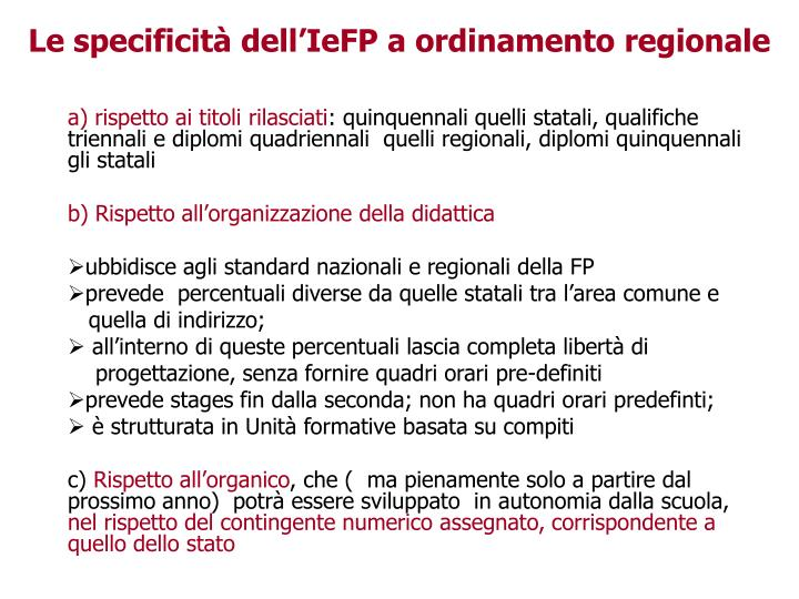 Le specificità dell'IeFP a ordinamento regionale