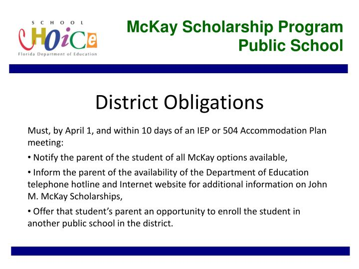 McKay Scholarship Program Public School