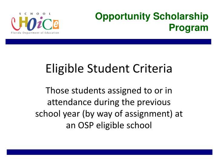 Eligible student criteria