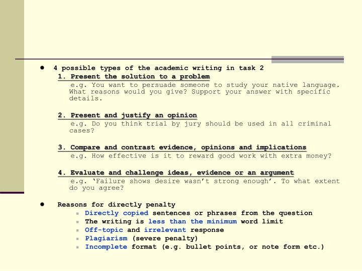 4 possible types of the academic writing in task 2