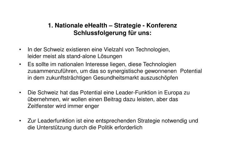 1. Nationale eHealth – Strategie - Konferenz