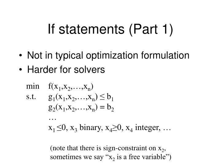 If statements (Part 1)