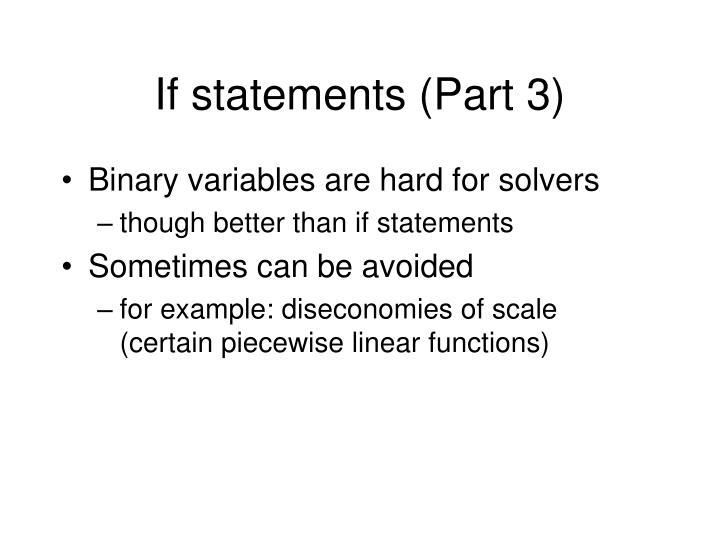 If statements (Part 3)
