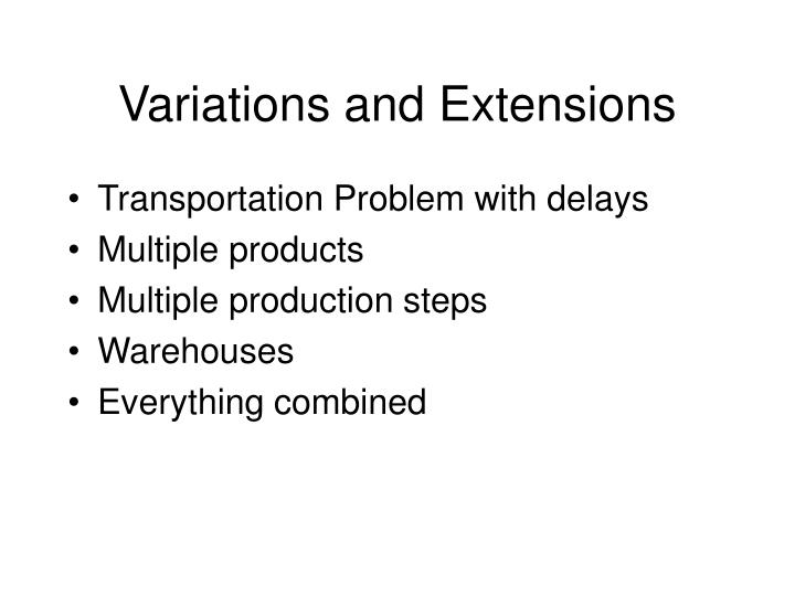 Variations and Extensions