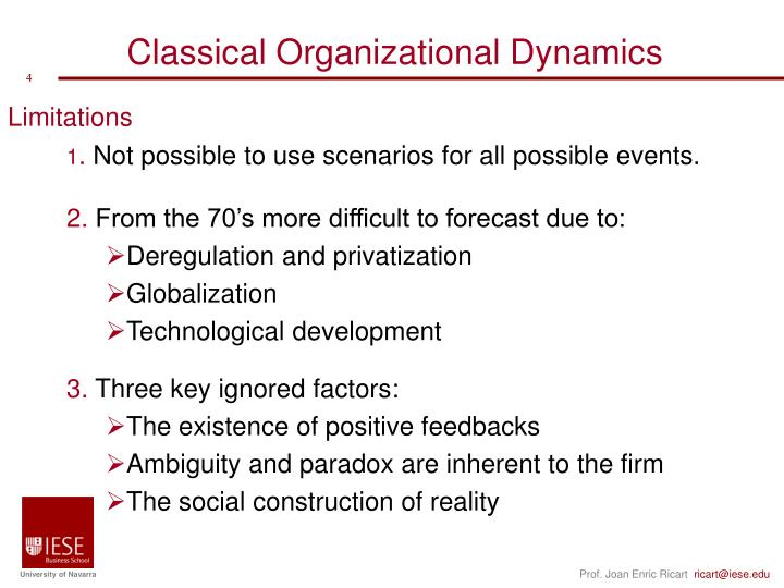 Classical Organizational Dynamics