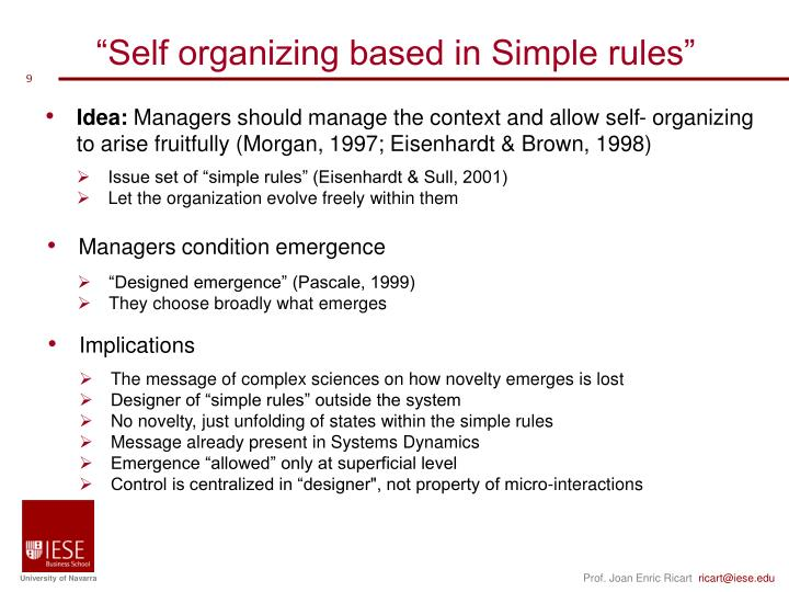"""Self organizing based in Simple rules"""