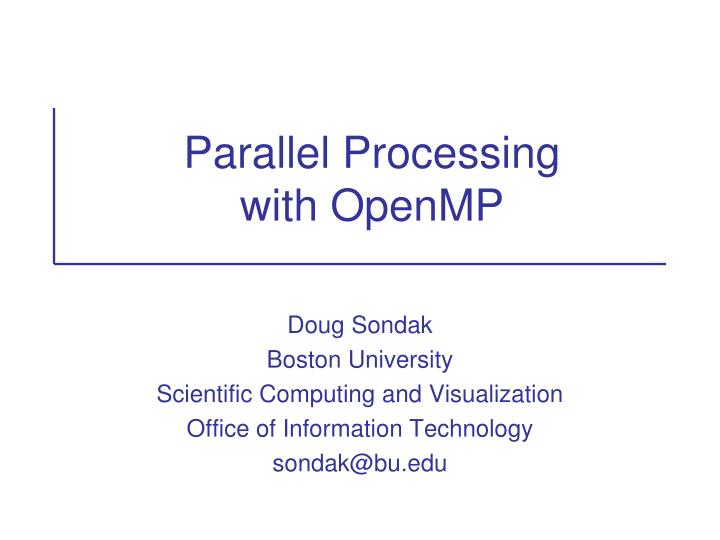parallel processing with openmp n.