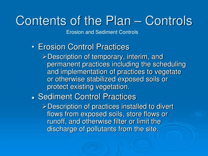 Contents of the Plan – Controls