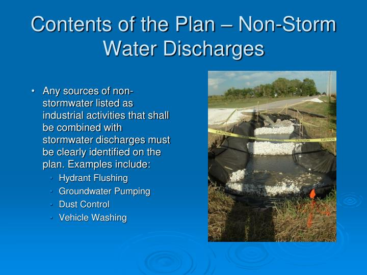 Contents of the Plan – Non-Storm Water Discharges