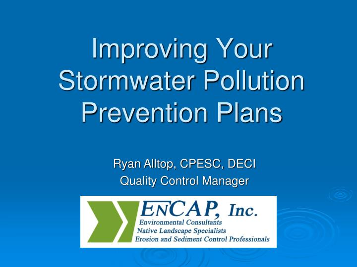 Improving your stormwater pollution prevention plans
