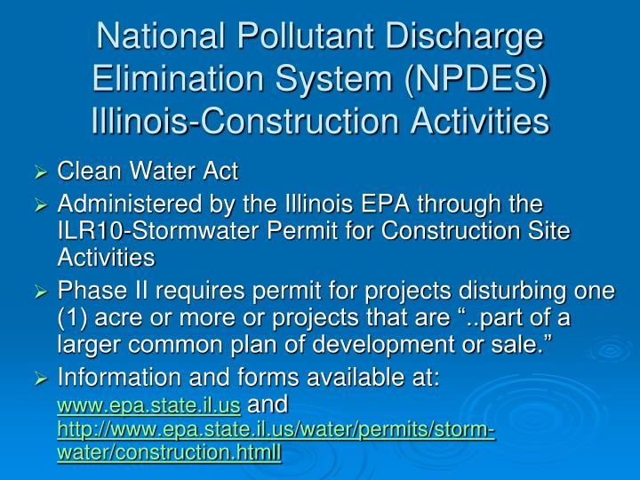 National Pollutant Discharge Elimination System (NPDES) Illinois-Construction Activities