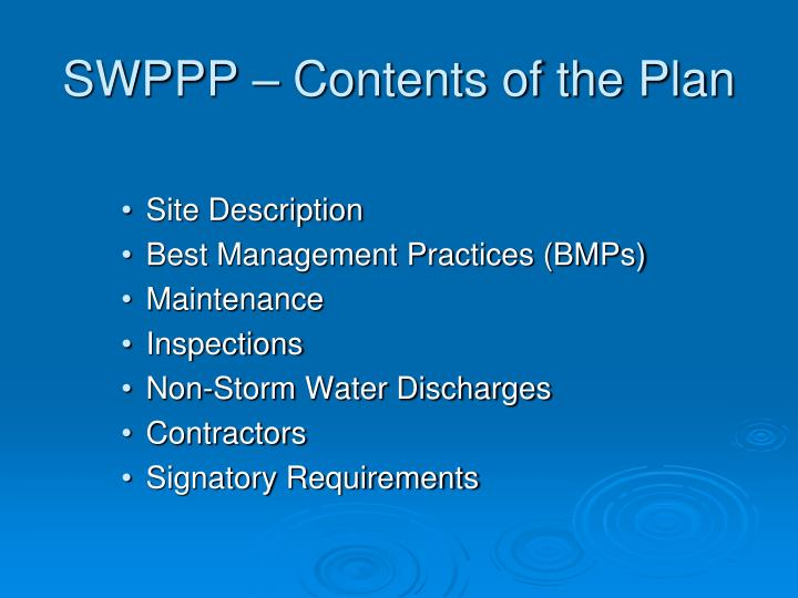 SWPPP – Contents of the Plan