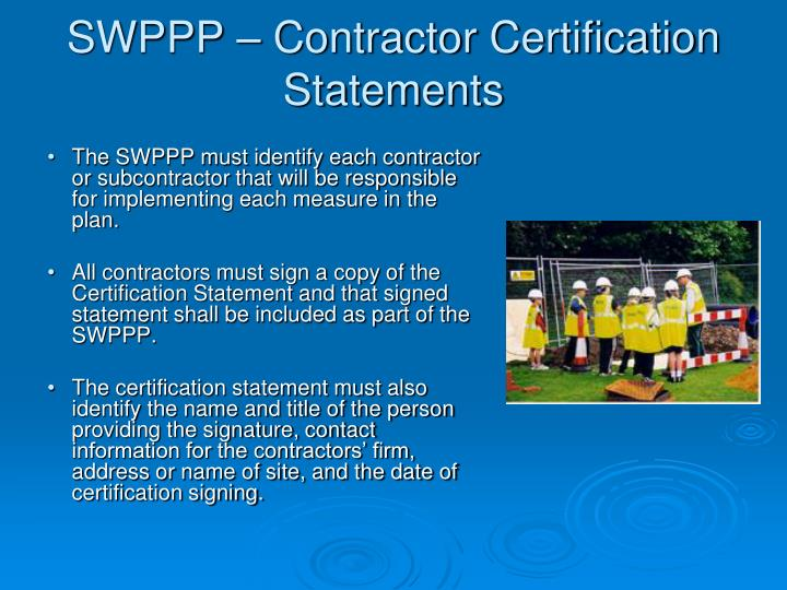 SWPPP – Contractor Certification Statements
