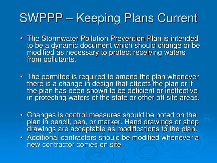 SWPPP – Keeping Plans Current