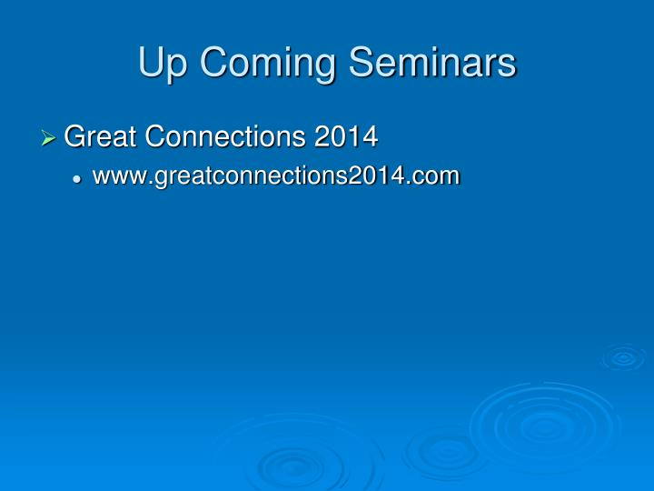 Up Coming Seminars