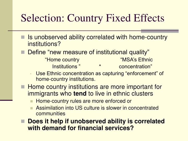 Selection: Country Fixed Effects