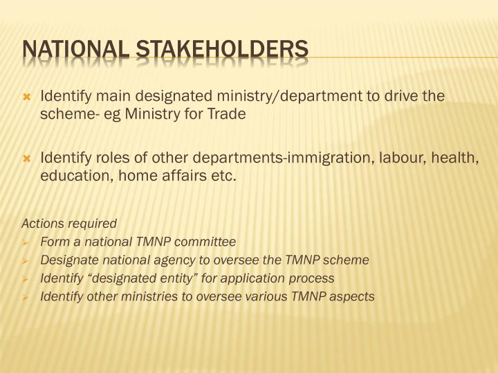 Identify main designated ministry/department to drive the scheme- eg Ministry for Trade