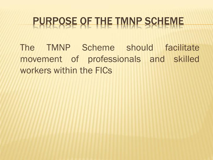 The TMNP Scheme should facilitate movement of professionals and skilled workers within the FICs