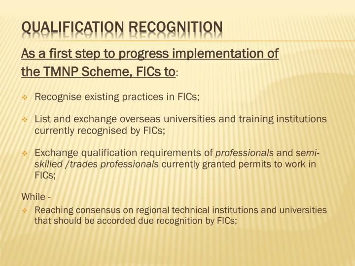 As a first step to progress implementation of