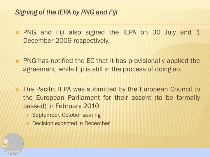 Signing of the IEPA by PNG and Fiji