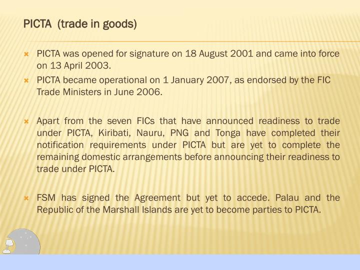 PICTA  (trade in goods)