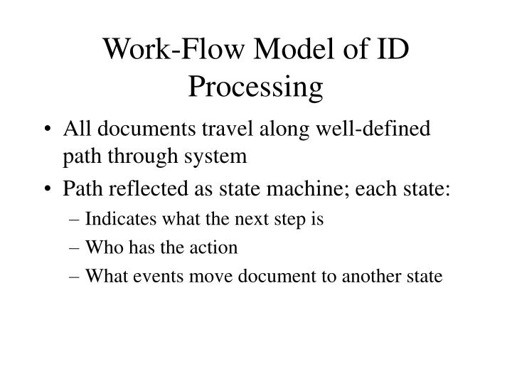 Work-Flow Model of ID Processing