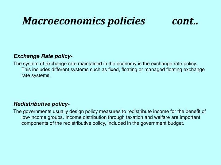 Macroeconomics policies           cont..